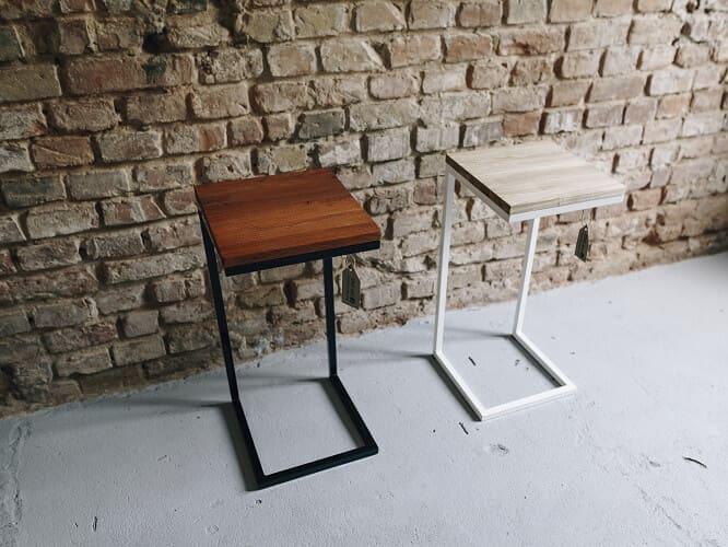 stolik pomocniczy drewno stal derkacz