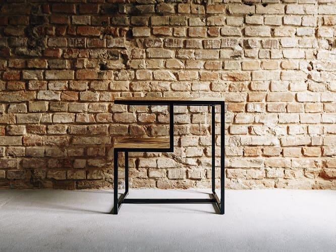 stolik pomocniczy drewno stal grzywacz