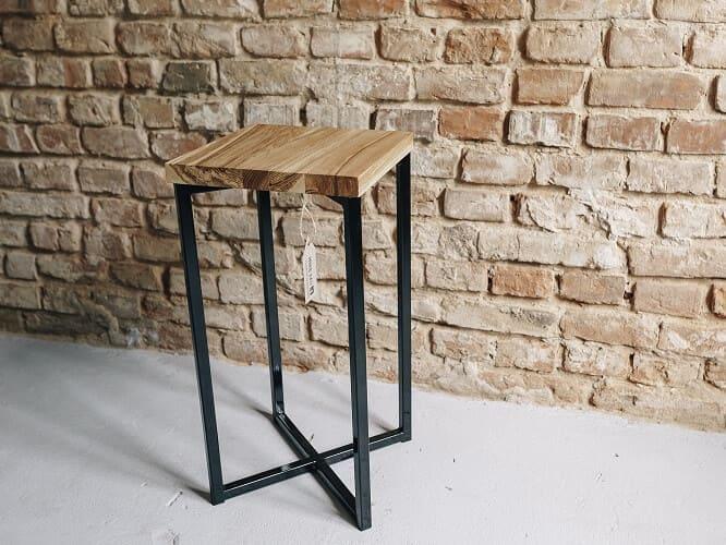 stolik pomocniczy drewno stal kopciuszek 1
